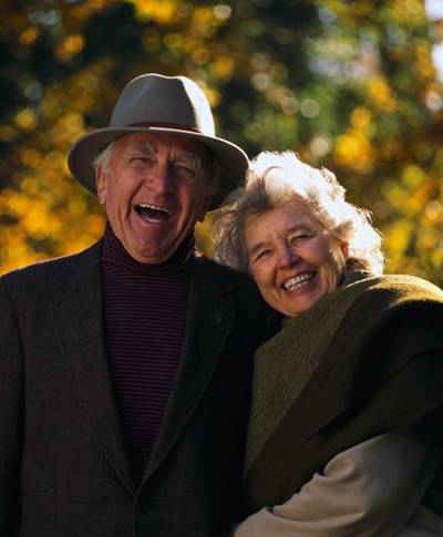 photo of elderly couple laughing